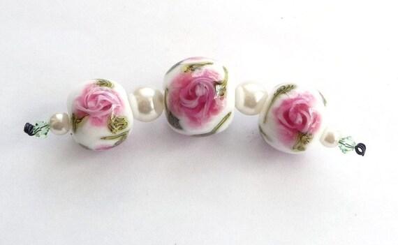 Sale ... Pink english rosary bead trio / SRA ( was USD 22.50)