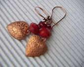 Valentine Vintage Copper Heart Earrings
