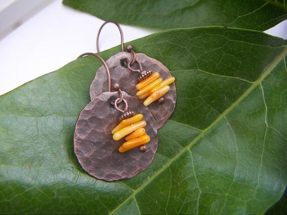 Hammered Copper Disc Earrings with Tiny Coral Sticks