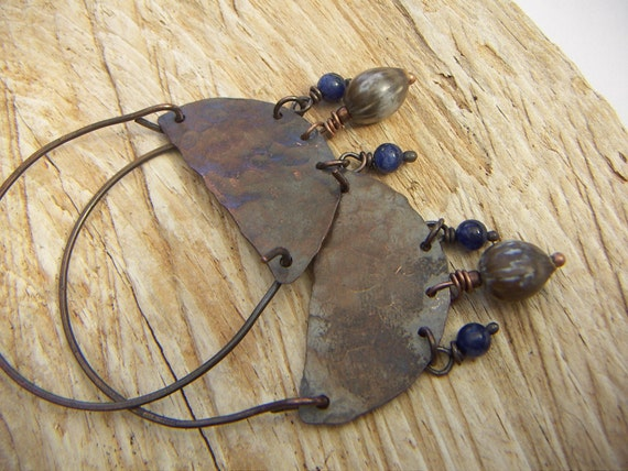 Mystic Copper Crescent Earrings