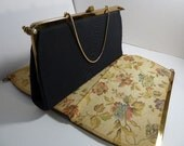 Reversible black Tapestry Purse