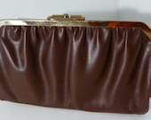 Reversible Maroon and Grey Clutch