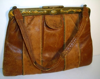 Vtg Brown Leather Purse