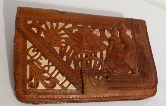 Handcrafted Tooled Leather Clutch