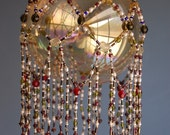 Beaded Gemstone weave hanging - swarovsky, pearl, garnet and more n.138