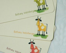 24 Cow, Cow Card, Cow Note Cards Personalized Flat Note Cards with Envelopes and Original Art Print of Cow IIlustration