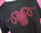 Red Horned God Screen Printed TShirt Unisex M/L