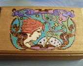 Wood Burned/Hand Painted Art Nouveau Goddess Jewelry Trinket Boxes
