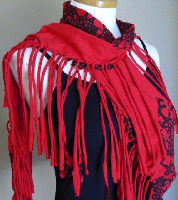 Bright red fringed jersey knit scraf w/black lace screen print