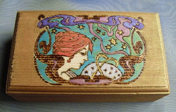 Wood Burned/Hand Painted Art Nouveau Goddess Jewelry Trinket Boxes