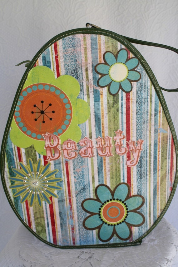 Luggage Upcycled Vintage Beauty  Tear Shaped Carry on Case OOAK Travel by My Cozy Cottage Designs
