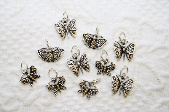 Butterfly Set of 10 Silver tone Charms with Gold tone details  CUTE Sparkly