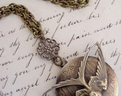 Locket Necklace -  Vintage Brass - Spring Swallow Bird - Handmade