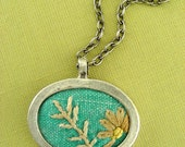 Vintage Necklace Turquoise Embroidered Needlework Fabric Silver Necklace