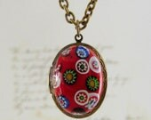 Locket Necklace - Red Italian Glass  Vintage Necklace