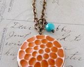Locket Necklace - Tangerine Orange and Turquoise Glass Cameo - VINTAGE Brass - Handmade