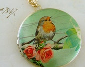 Locket Necklace Mint Green Rose and Bird  Vintage Necklace