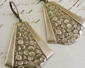 Vintage Earrings - Art Deco Earrings - Vintage Brass jewelry - Bubble Earrings - handmade jewelry - Dangle Earrings - Bohemian jewelry