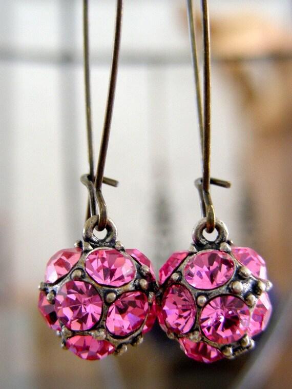 Vintage Earrings Pink Rhinestone Disco Ball Dance EARRINGS