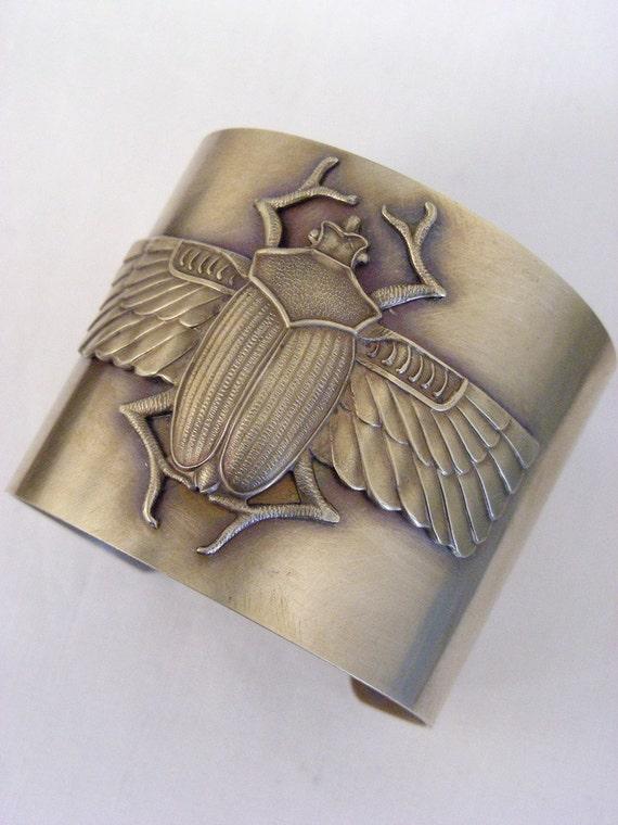 Vintage Bracelet - Cuff -  Egyptian Jewelry - Scarab jewelry - Brass Bracelet - Cuff Bracelet - handmade jewelry