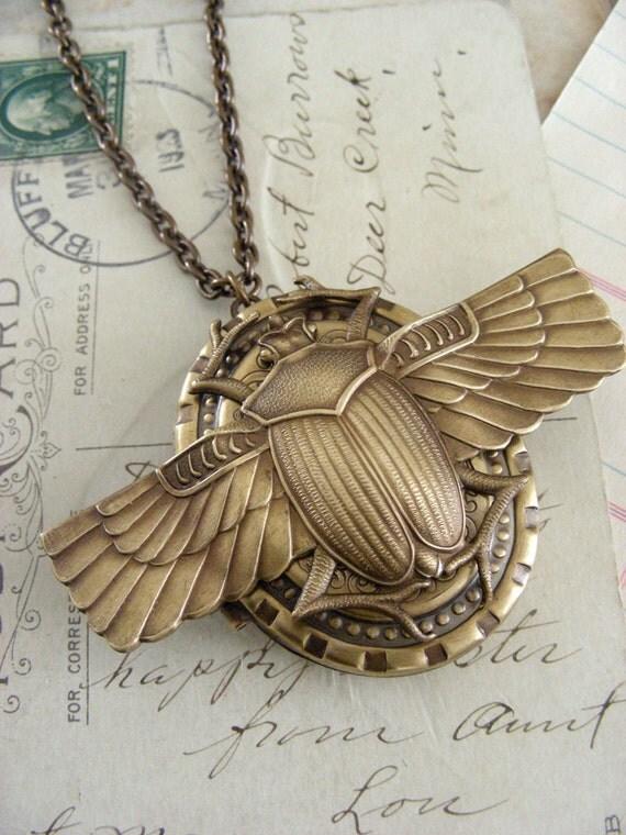 Vintage Scarab LOCKET Necklace Egyptian Art Deco