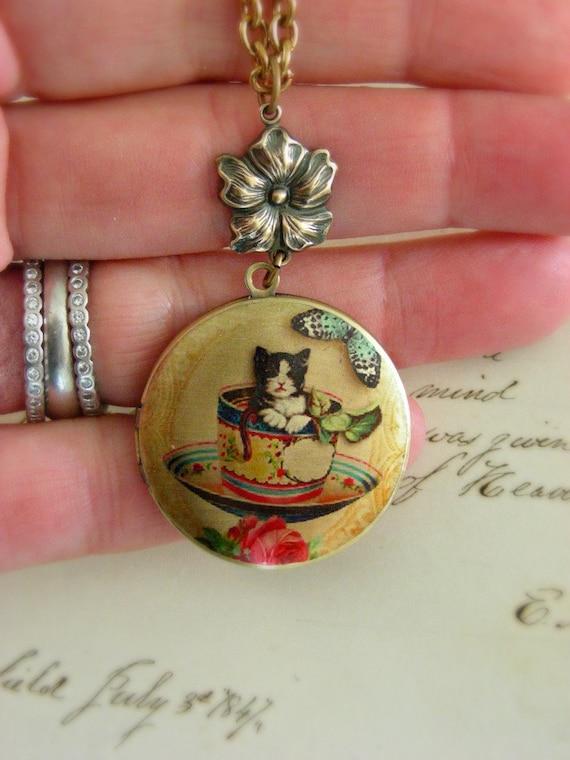 Locket Necklace Kitty Cat in a Tea Cup Necklace - Retro Vintage Brass LOCKET - Under 30