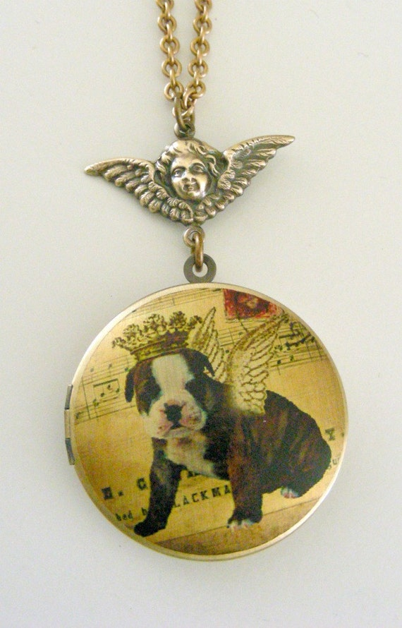 Locket Necklace - Baby Bulldog with Crown and Wings - Retro Vintage