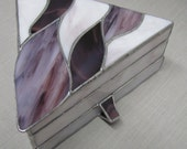 Plum Purple Hand Crafted Triangle Multi Level Stained Glass Jewelry Box