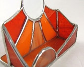 Shades of Sunny Orange Stained Glass Business Card Holder
