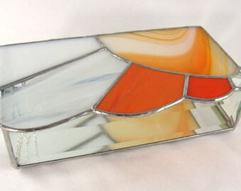 Rays of Sunshine Orange and White Stained Glass Box with Bevel