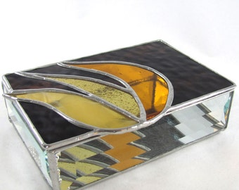 Brown, Gold and Amber Stained Glass Jewelry Box