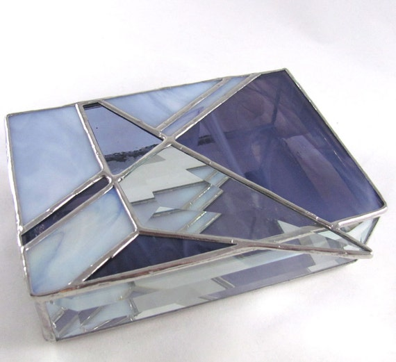Hand crafted Purple Grape Triangle design Abstract Stained Glass Box