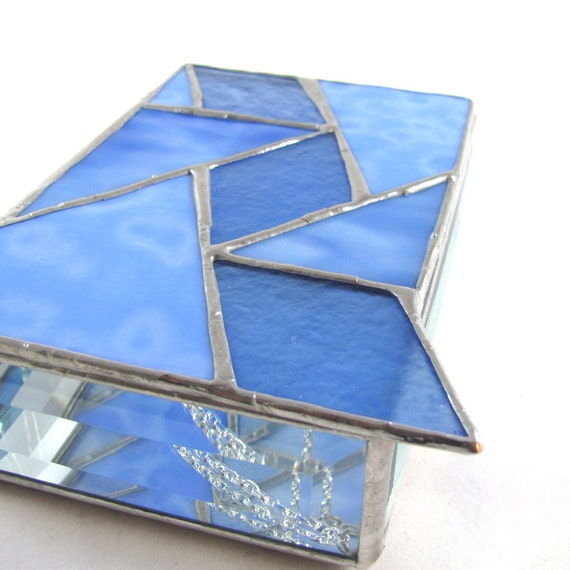 Periwinkle Blue and Bevel Hand Crafted Stained Glass Box