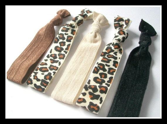 HAIR HUGZ Ties -  Classy Kitty Set of 5 Satin Elastic Hair Tie Bracelets - Medium Brown, Sand, Black, Leopard Print
