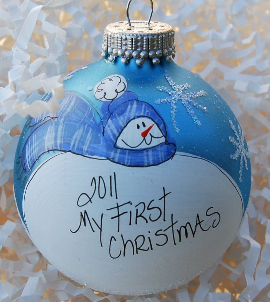 Hand painted personalized baby 39 s first christmas ornament for Personalized christmas photo ornaments