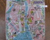 Vintage Hankie - Street Map of Zurich