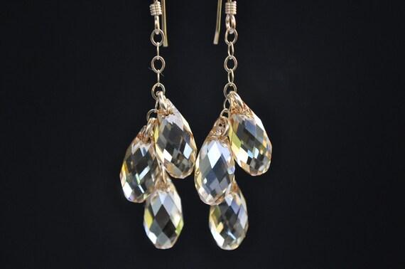 Champagne Peach Dangle Drop Earrings,Swarovski Briolette Earrings,Champagne Bridal Jewelry, Bridesmaid Earrings, Cascading Teardrops