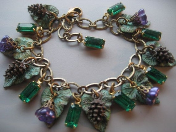 Enchanted Forest Charm Bracelet  - Leaf Bracelet - Woodland