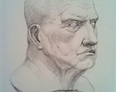 Study After Roman Sculpture- Drawing- Free Shipping