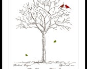 Wedding Signature finger print Guestbook Tree with Love birds Poster Print 17 x 22 Large up to 170 fingerprints. Choose font ,BIRDS, color