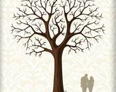 Wedding Guestbook Tree Signature and Fingerprint Wall Art Print  17 x 22 Large up to 170 fingerprints. Choose font & silhouette