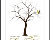 Wedding Tree Poster Print Guest Book Signature and Fingerprint Poster Print 13 x 19 Large up to 100 fingerprints. Choose font and color