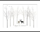 Winter Wonderland Wedding Tree Guest Book Signature with Deer Poster Print Large up to 180 thumb prints. Custom colors and fonts