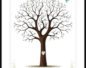 Personalised Wedding Guest Registry Signature Tree Gift  Wall Art 17 x 22 Large 170 prints Choose font & color