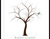 Personalized Finger Print Wedding Tree Guest Book Wall Art 17 x 22 Large up to 170 fingerprints. Choose font & color