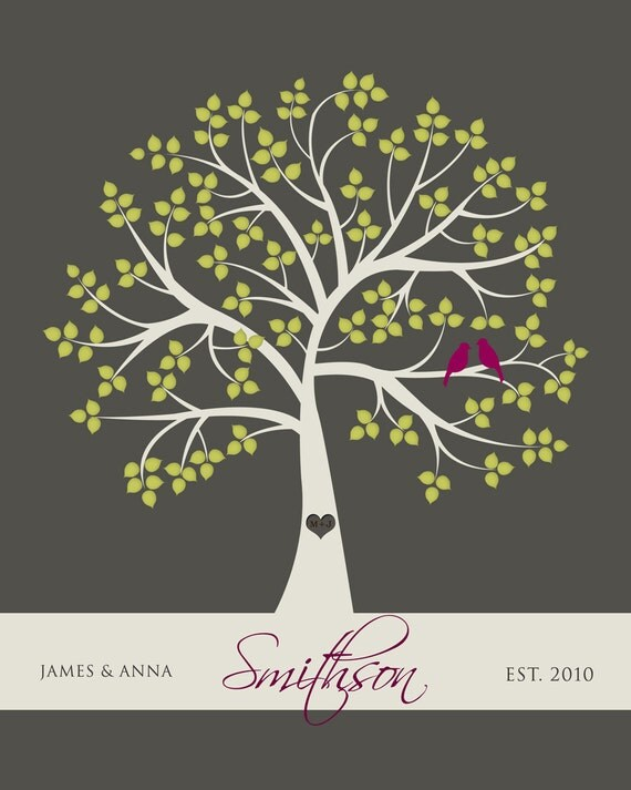 Newly Married Couple Valentines Tree Gift with Love Birds PRINTABLE PDF FILE 8 x 10 custom colors and fonts