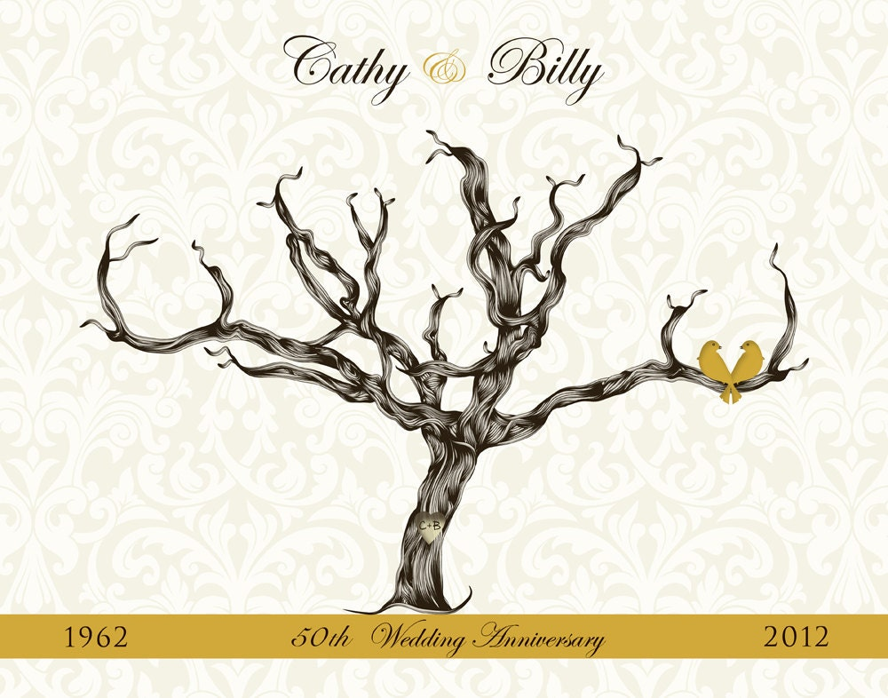 50th Wedding Anniversary Gift Ideas For Guests : to Golden 50th Wedding Anniversary Gift Guest Book Damask Guest ...