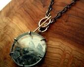 Birthstone Necklace, Gem Shaker Necklace, Keepsake Necklace, Lariat 30mm w Oxidized Silver Necklace By Pale Fish NY