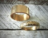 His and Hers Couples Ring Set - 14K Gold Filled Wide Band & Classic Pattern Ring Set w Secret Message - Modern Meets Classic