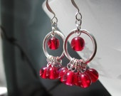 SALE -- Iridescent Red Earrings -- Candy-Red Aurora Borealis-Finished Glass on Silvery Rings